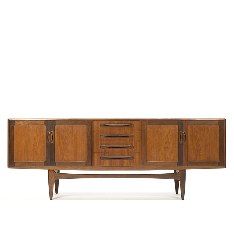 Vintage laag model lang dressoir in teakhout