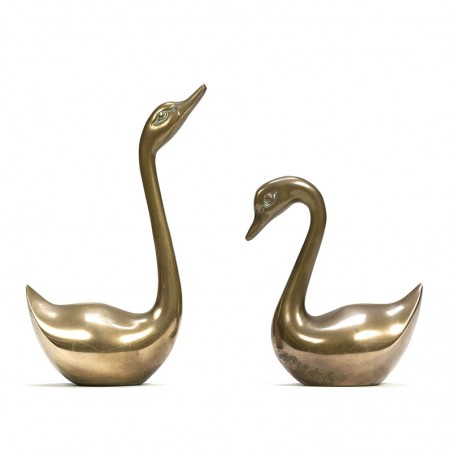 Vintage set of 2 brass swans