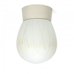Fifties vintage milk glass ceiling lamp
