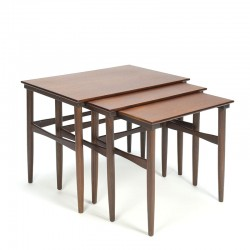 Vintage set of Danish nesting tables in dark teak