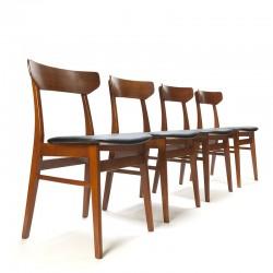 Set van 4 vintage teakhouten Deense eettafel stoelen