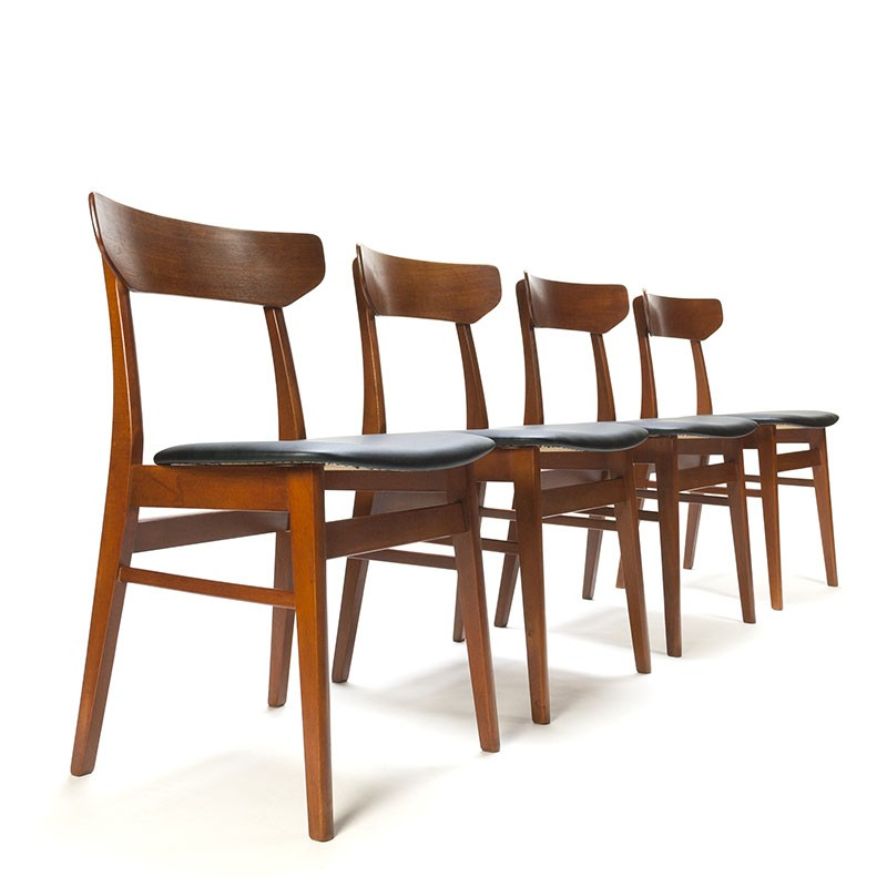 Set of 4 vintage teak Danish dining table chairs