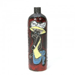 Aardewerken vintage vaas met afbeelding van een dame