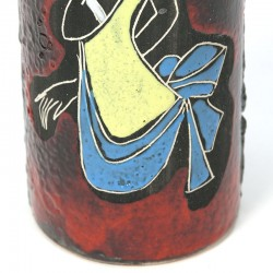 Earthenware vintage vase with an image of a lady
