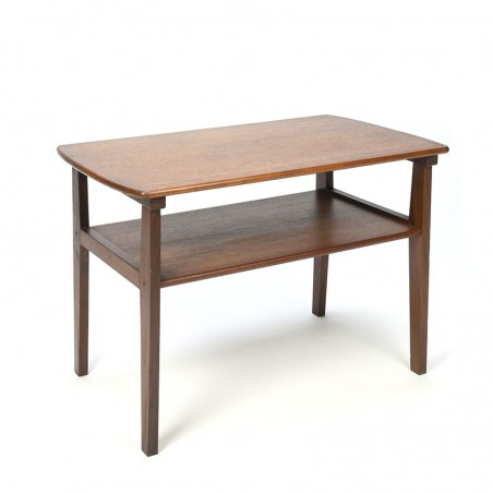 Teak Danish vintage side table with double layer