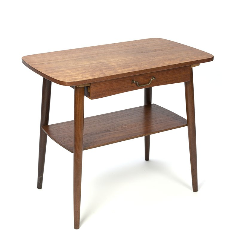 Danish vintage side table in teak with drawer