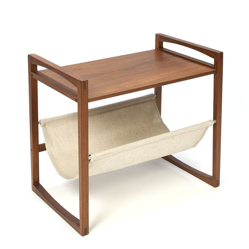 Danish vintage newspaper rack / side table in teak