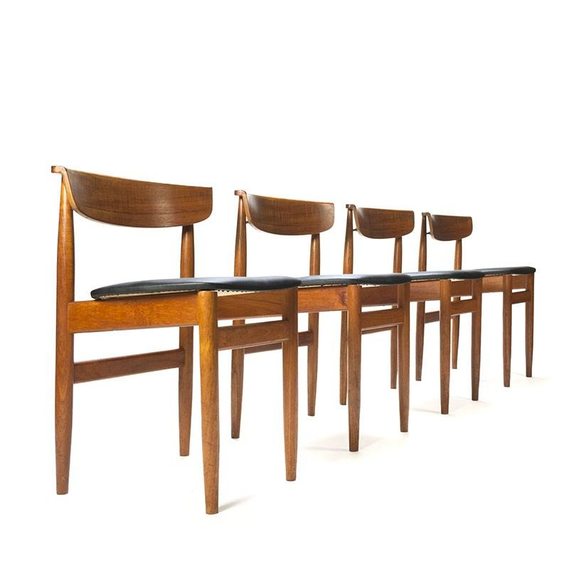 Vintage set of 4 teak dining table chairs