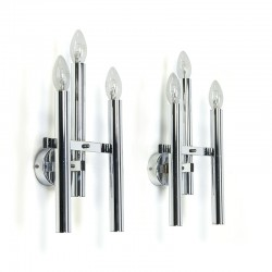 Set of vintage chrome G. Sciolari wall sconces
