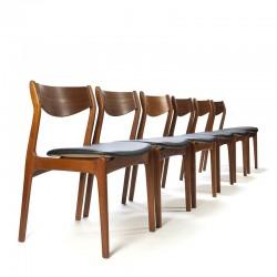 Set van 6 teakhouten stoelen ontwerp P.E. Jørgensen voor Farso