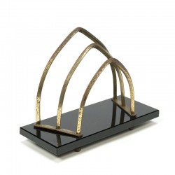 Vintage letter stand glass / brass