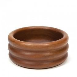 Vintage teak bowl with ribbed design