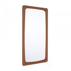 Teakhouten vintage spiegel met brede rand