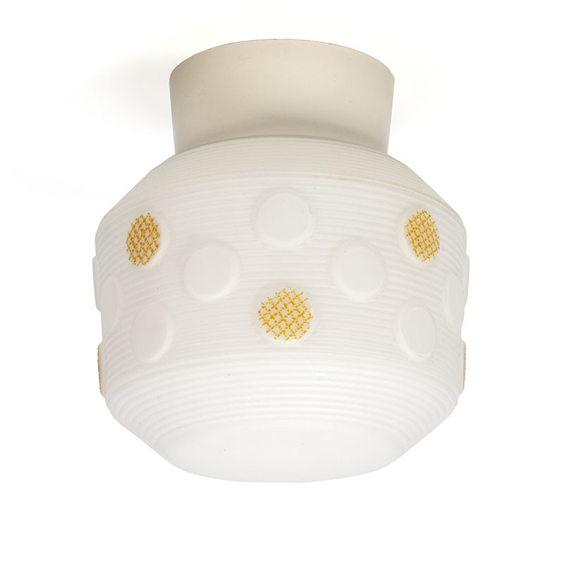 Vintage 1950s ceiling lamp with yellow detail
