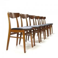 Teakhouten set van 6 vintage Farstrup stoelen