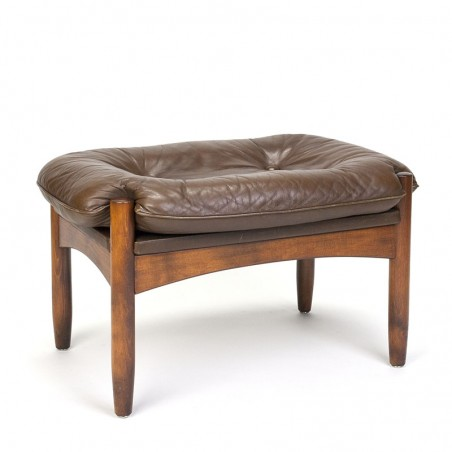 Danish brown leather vintage pouf or hocker