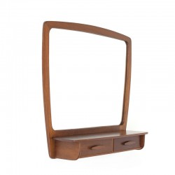 Danish vintage mirror in teak with 2 small drawers