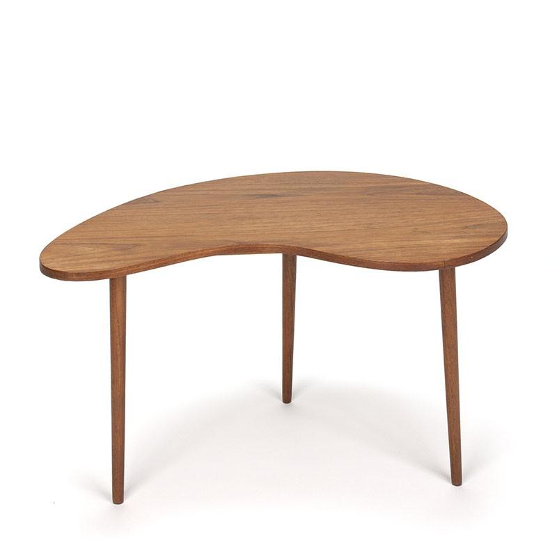 Kidney-shaped vintage teak side table