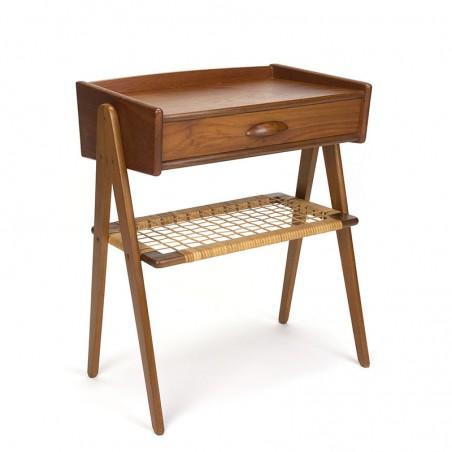 Vintage Scandinavian bedside table in teak and wicker