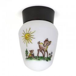 Vintage plafondlamp met Bambi uit de jaren vijftig/ zestig
