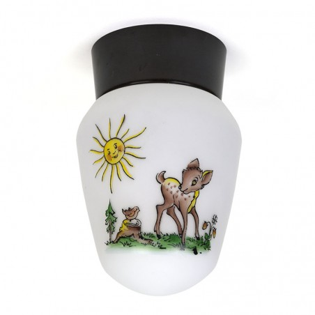 Vintage ceiling lamp with Bambi from the fifties / sixties