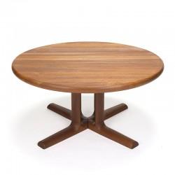Solid teak round vintage Danish coffee table