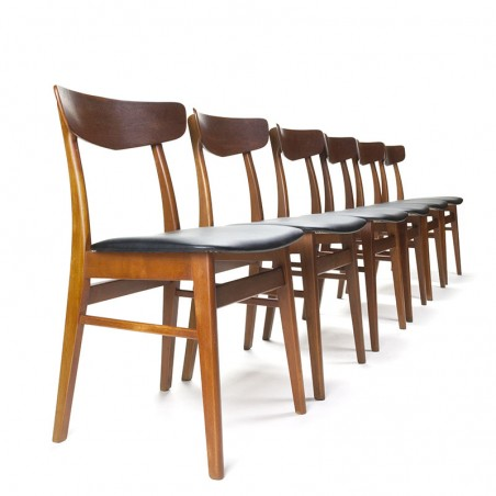 Set of 6 Danish Mid-Century vintage dining table chairs
