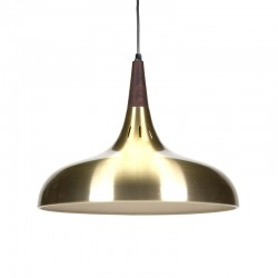 Danish brass colored vintage hanging lamp with teak detail