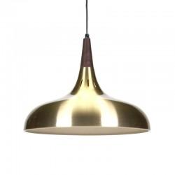 Deense messing kleurige vintage hanglamp met teak detail