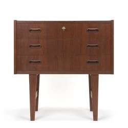 Danish vintage small chest of drawers with 3 drawers in teak