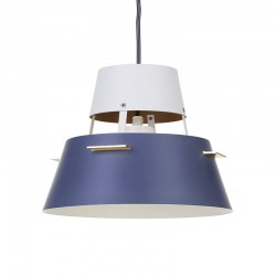 Kleine Deense vintage metalen hanglamp in grijs en wit