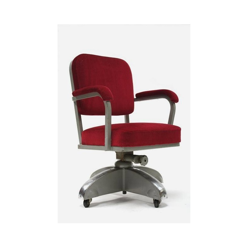 Desk chair with red upholstery