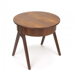 Round model vintage Danish side table with storage space