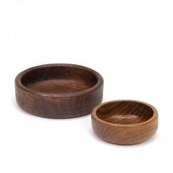Vintage set of 2 teak small bowls