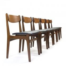 Deense set van 6 vintage eettafel stoelen in teak
