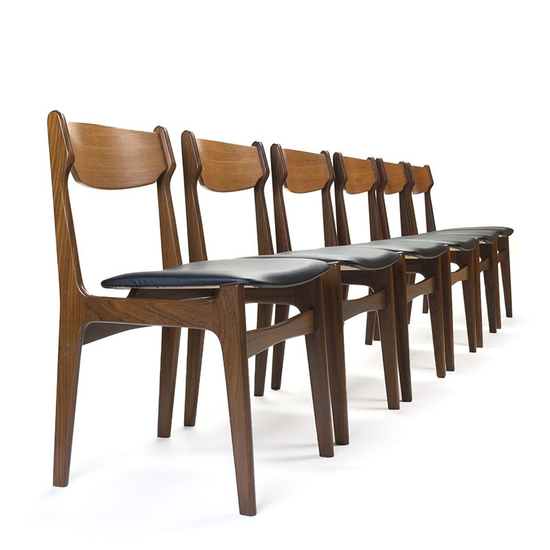 Danish set of 6 vintage dining table chairs in teak