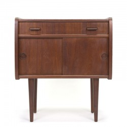Danish small vintage cabinet with sliding doors in teak