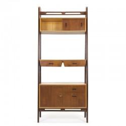 Teakhout/ eiken vintage wandsysteem of room divider