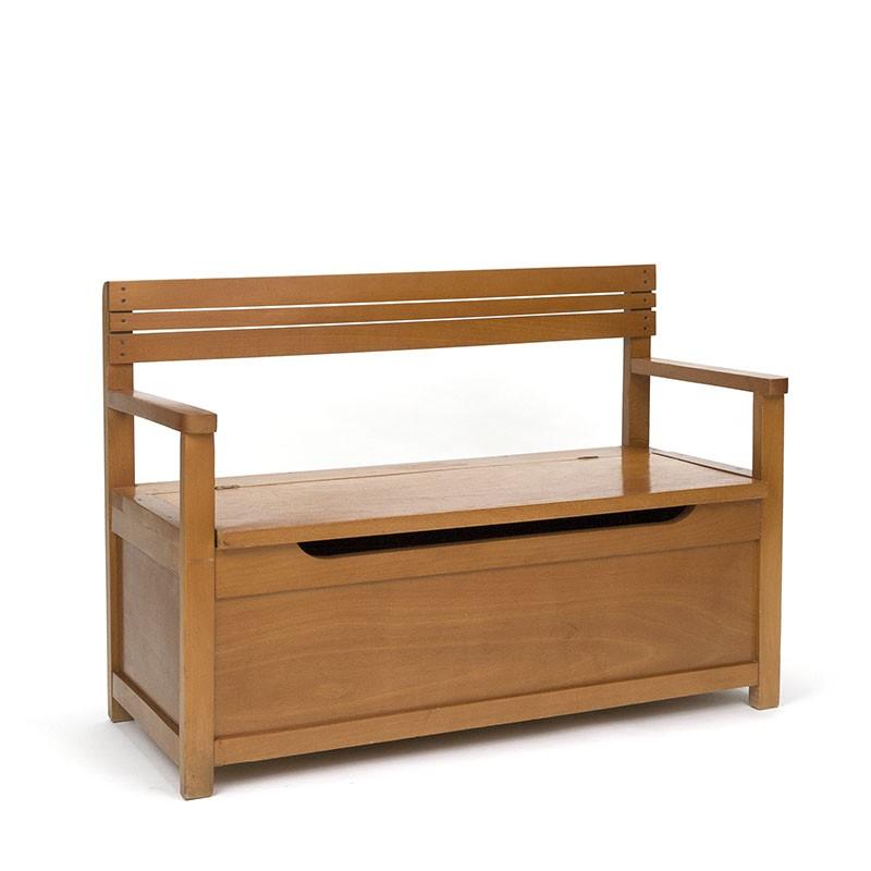 Vintage houten kinderbankje met klep
