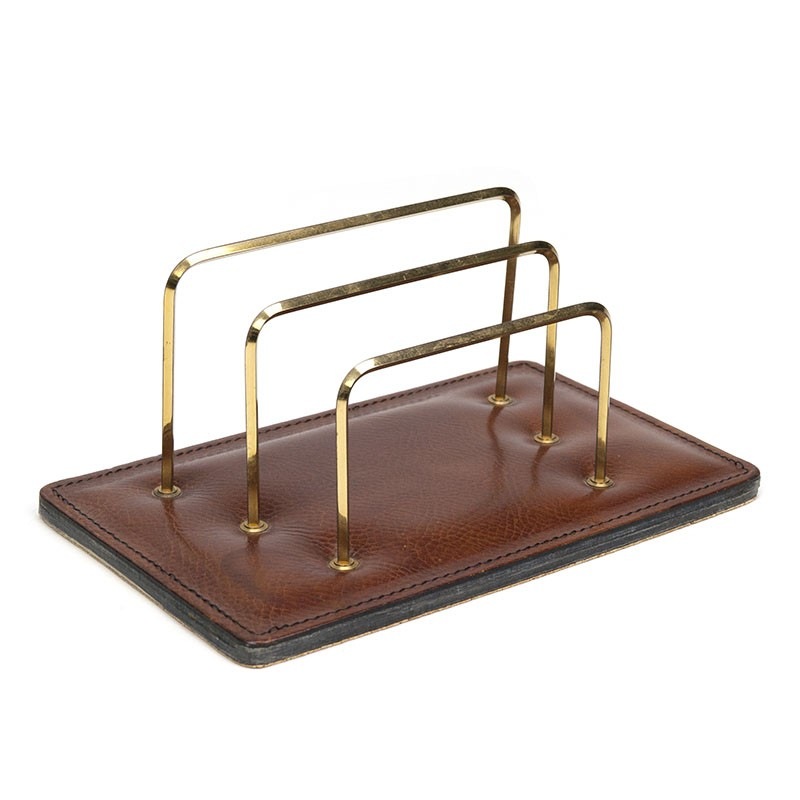 Brown leather vintage letter stand