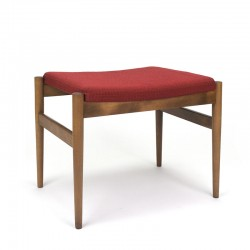 Danish vintage hocker with red fabric