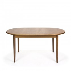 Vintage teak dining table extendable oval model