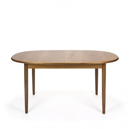 Vintage teak dining table extendable oval model
