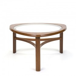 Teak vintage round model coffee table with glass top