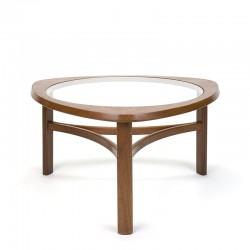 Teakhouten vintage rond model salontafel met glazen blad