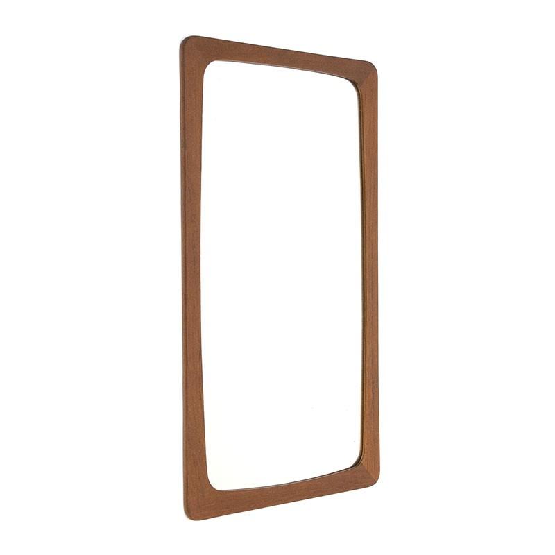 Rectangular model Danish vintage teak mirror
