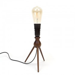 Teak vintage table lamp on 3 legs