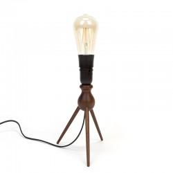 Teakhouten vintage tafellampje op 3 poot