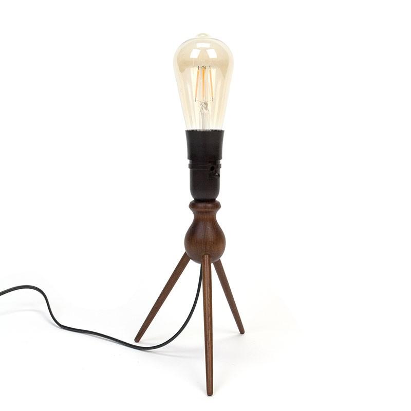 Teak vintage table lamp on 3 legs