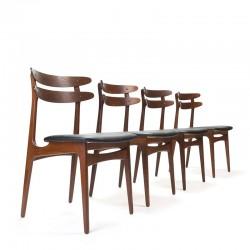 Set van 4 Deense stijlvolle teakhouten vintage stoelen